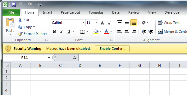 The one button you have to click to permanently enable macros for a document.